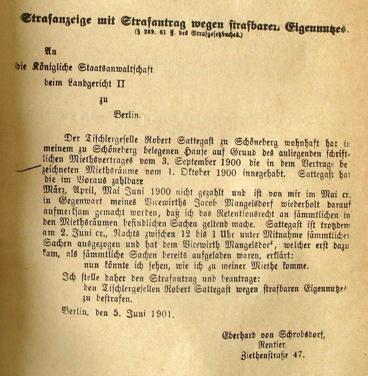 Musterschreiben der natürlichen Person eines Deutschen.