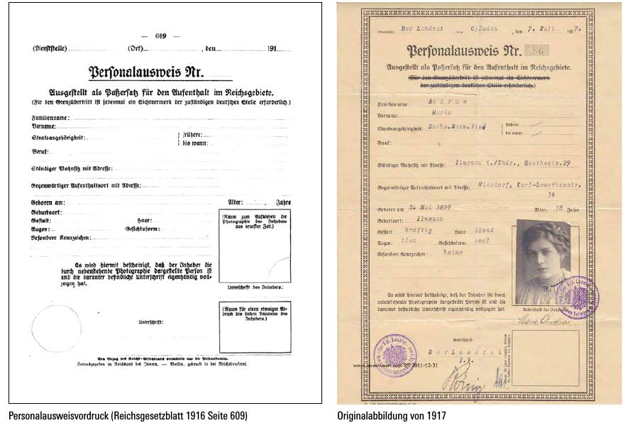 Personalausweis 1916 und 1917
